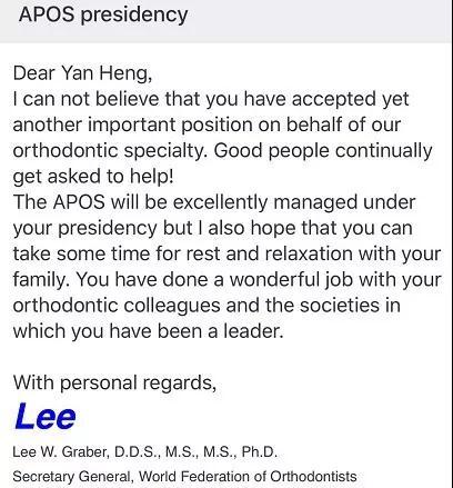 世界正畸联盟秘书长Lee W.Graber祝贺周彦恒教授